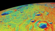 This is a temperature map of the north polar region of Mercury, calculated at the University of California in Los Angeles using topographic data collected by NASA's MESSENGER spacecraft (NASA / UCLA / JHUAPL / Carnegie Institution of Washington)