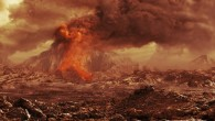 Artists impression of an active volcano on Venus (ESA / AOES)