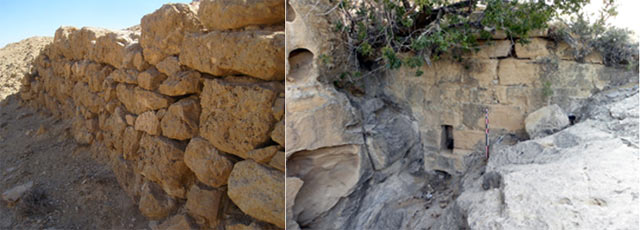 Left: a wall supporting a hillside terrace used for farming outside Petra. Right: this canyon dam and water pipe were part of ancient Petra's complex water-management system (Brown University Petra Archaeological Project)