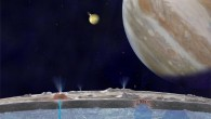 Based on new evidence from Jupiter&#039;s moon Europa, astronomers hypothesize that chloride salts bubble up from the icy moon&#039;s global liquid ocean and reach the frozen surface where they are bombarded with sulfur from volcanoes on Jupiter&#039;s innermost large moon, Io (NASA / JPL-Caltech)