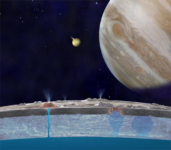 Based on new evidence from Jupiter's moon Europa, astronomers hypothesize that chloride salts bubble up from the icy moon's global liquid ocean and reach the frozen surface where they are bombarded with sulfur from volcanoes on Jupiter's innermost large moon, Io (NASA / JPL-Caltech)