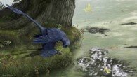 Artist's conception of Microraptor, a small flying dinosaur, eating a fish it has caught (Emily Willoughby)