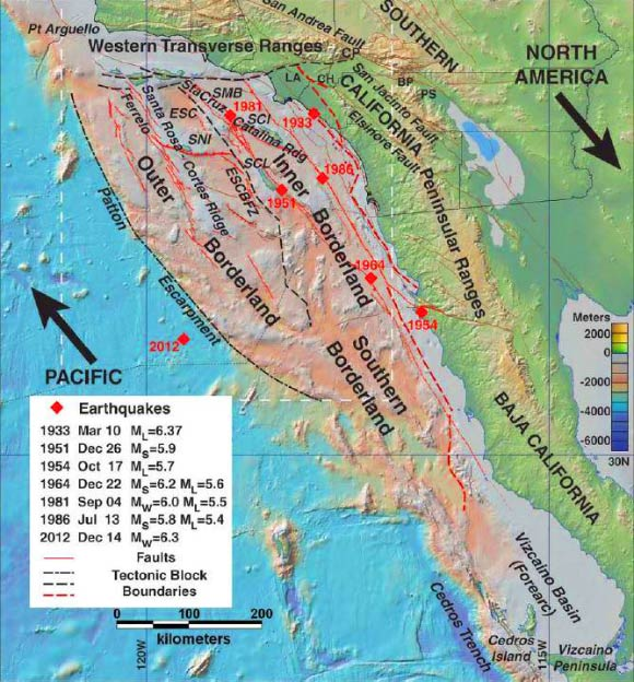 Researchers Map Active Fault Zones Off Southern California Coast - Map of california coast