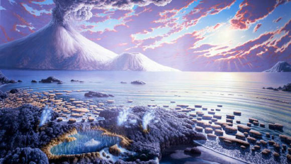 The permanent rise of oxygen in the atmosphere of Earth, which set the stage for life as we know it, happened 100 million years later than previously thought. Image credit: Hadeano.