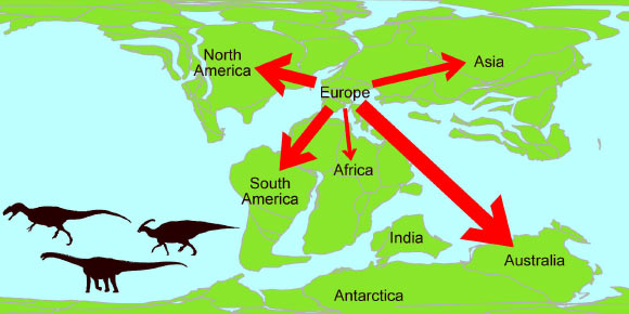 Dinosaurs left europe during early cretaceous says new study a map showing the migration of dinosaurs from europe during the early cretaceous image credit gumiabroncs Gallery