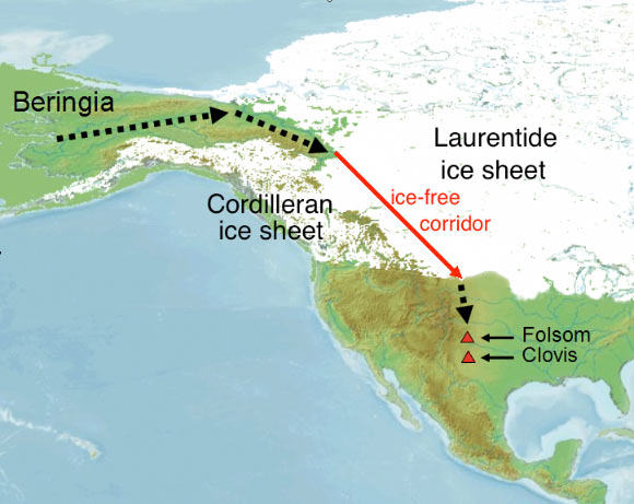 Passageway Of Paleo Indians In Canada Map Researchers: 'Ice Free Corridor' along Rocky Mountains Opened Up