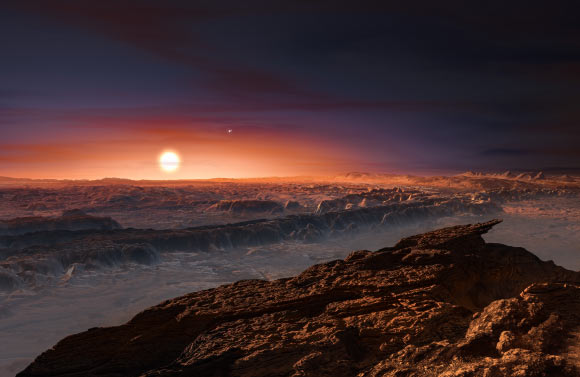 The impression of this artist shows a view of the surface of Proxima orbiting Proxima Centauri. Alpha Centauri AB also appears in the image at the top right of Proxima. Proxima b is a little more massive than the Earth and orbits in the habitable zone around its star, where the temperature is conducive to the presence of liquid water on its surface. Image credit: Mr Kornmesser / ESO.