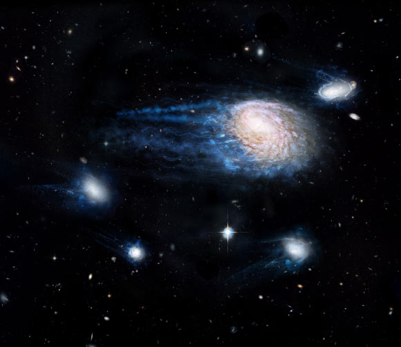 An artist's impression showing the increasing effect of ram-pressure stripping in removing gas from the spiral galaxy NGC 4921 and its satellite galaxies. Image credit: ICRAR / NASA / ESA / Hubble Heritage Team / STScI / AURA.