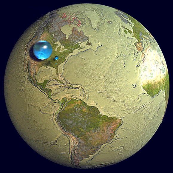Illustration showing all of Earth's water, liquid freshwater, and freshwater in lakes and rivers. Image credit: Howard Perlman, USGS / Jack Cook, Woods Hole Oceanographic Institution / Adam Nieman.