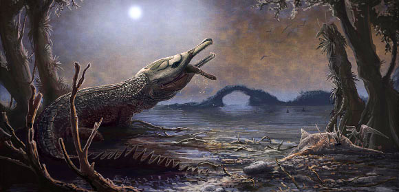 A paleoartist's reconstruction of Lemmysuchus obtusidens. The reconstruction contains details relating to Motörhead, with the pattern on the head based on the band's Snaggletooth logo. Image credit: Mark Witton, Trustees of the Natural History Museum, London.