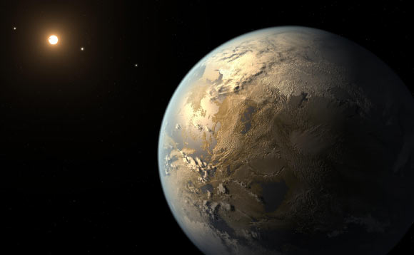 This artist's concept depicts Kepler-186f, the first validated Earth-size planet to orbit a distant star in the habitable zone. Image credit: NASA / Ames / SETI Institute / JPL-Caltech.