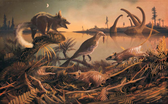 Artist's impression of a lagoon at dusk with Durlstodon ensomi (left foreground), Durlstotherium newmani (right and center foreground) and the theropod Nuthetes holding a captured Durlstotherium newmani (center middle distance). Image credit: Mark Witton.