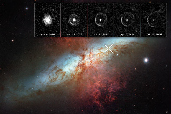 SN 2014J occurred at the upper right of Messier 82 and is marked by an 'X.' The inset images at top reveal an expanding shell of light from the stellar explosion sweeping through interstellar space, called a 'light echo.' The images were taken 10 months to nearly two years after the violent event – from November 6, 2014 to October 12, 2016. Image credit: NASA / ESA / Y. Yang, Texas A&M University & Weizmann Institute of Science.