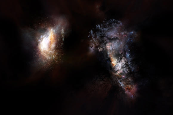 Artistic impression of a pair of galaxies of the early Universe. Image credit: NRAO / AUI / NSF / D. Berry.
