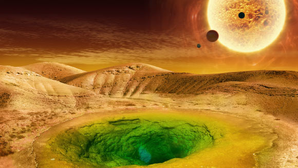 Artist's conception of what life could look like on the surface of an exoplanet. Image credit: NASA.