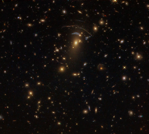 This image, taken by Hubble's Wide Field Camera 3 (WFC3), shows the massive galaxy cluster SDSS J1138+2754. Image credit: NASA / ESA / Hubble / Judy Schmidt, www.geckzilla.com.