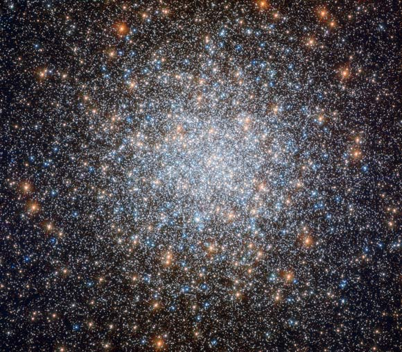 This Hubble image shows the Messier 3 globular cluster. The color image was taken from separate exposures taken in the visible and ultraviolet regions of the spectrum with the Hubble Wide Field Camera 3 (WFC3).  Five filters were used to sample different wavelengths.  Color is the result of assigning different tints to each monochromatic image associated with an individual filter.  Image credit: NASA / ESA / Hubble / G. Piotto et al.