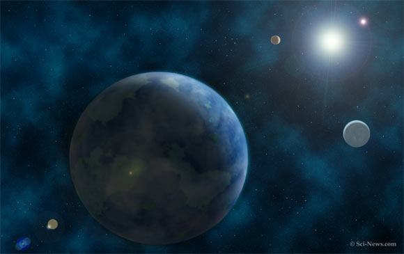 An artist's conception of the HR 858 planetary system. Image credit: Sci-News.com.