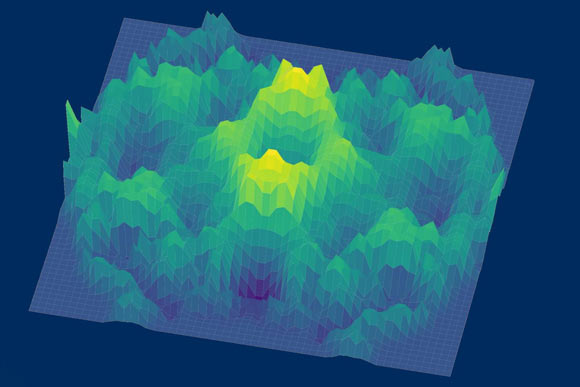 A 3D representation of the spin-excitation continuum -- a possible hallmark of a quantum spin liquid -- observed in a single crystal sample of cerium zirconium pyrochlore. Image credit: Tong Chen / Rice University.