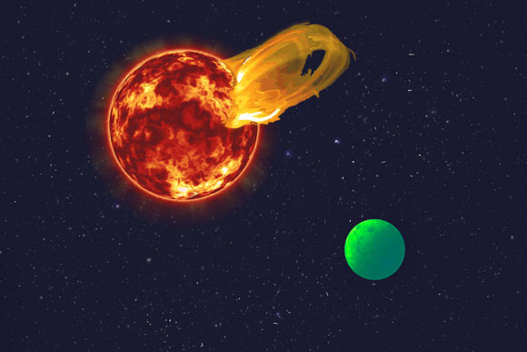 An artist's impression of a flare erupting from the star Proxima Centauri and the glowing exoplanet Proxima b. Image credit: Roberto Molar Candanosa, Carnegie Institution for Science / NASA / SDO / JPL / Sci-News.com.