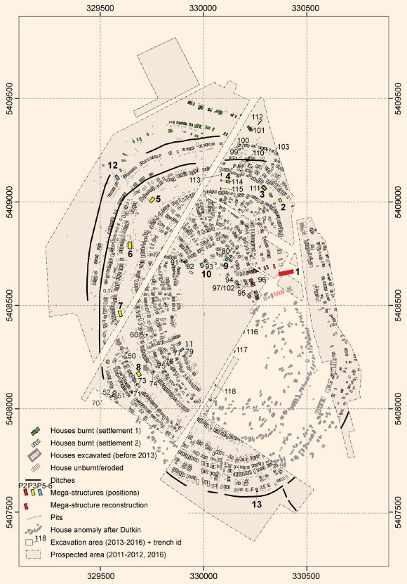 The Trypillian giant-settlement of Maidanetske: redrawing of the plan of the magnetic survey; green and white - dwellings; light red - adjacent dwellings of the primary plaza; red - mega-structures at the primary plaza; yellow - mega-structures in the ring-corridor; blue - mega-structures at different positions of radial pathways. Image credit: Hofmann et al, doi: 10.1371/journal.pone.0222243.