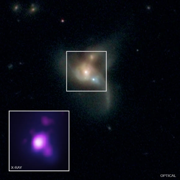 Pfeifle et al provide the strongest evidence yet for a system of three supermassive black holes. Image credit: NASA / CXC / George Mason University / R. Pfeifle et al / SDSS / NASA / STScI.