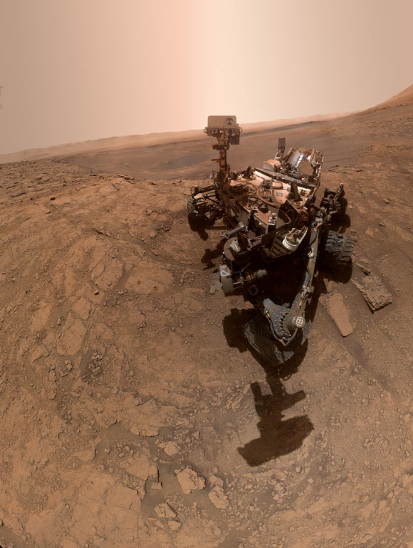 The curious rover took over this selfie on October 11, 2019. The rower dug twice at this location, nicknamed Glenn Etiv. Just to the left of the rover are the two drilling holes called Glen Etw 1 (right) and Glen Etw 2 (left). Image Credit: NASA / JPL-Caltech / ISS.