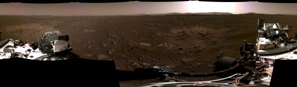This panorama, taken on February 20, 2021, by the Navigation Cameras (Navcams) aboard NASA's Perseverance Mars rover, was stitched together from six individual images after they were sent back to Earth. Image credit: NASA / JPL-Caltech.