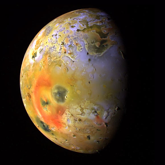 This global view of Io was obtained in January 1999 by NASA's Galileo spacecraft. Image credit: NASA / JPL / University of Arizona.