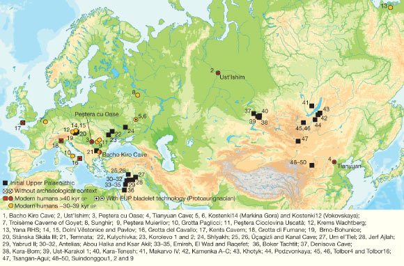 Sites with modern human genome-wide data older than 40,000 years (red circles) or older than 30,000 years (yellow circles), sites in Europe with modern human remains older than 40,000 years (red squares) and sites with Initial Upper Paleolithic assemblages (black squares). Image credit: Hajdinjak et al., doi: 10.1038/s41586-021-03335-3.