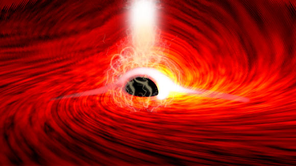 Wilkins et al. observed bright flares of X-ray emissions, produced as gas falls into a supermassive black hole in I Zwicky 1; the flares echoed off of the gas falling into the black hole, and as the flares were subsiding, short flashes of X-rays were seen -- corresponding to the reflection of the flares from the far side of the disk, bent around the black hole by its strong gravitational field. Image credit: Dan Wilkins.