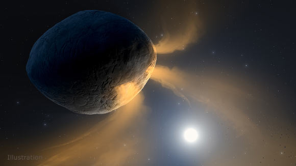 This illustration depicts the asteroid Phaethon being heated by the Sun. Image credit: NASA / JPL-Caltech / IPAC.