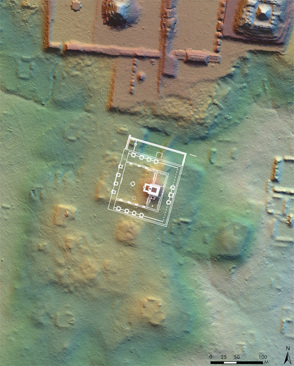 Overlay of the Teotihuacan Ciudadela on the precinct at Tikal, showing the same orientation, flanking platforms, eastern pyramid, western enclosure and north-south corridor at the western entrance to the precinct. Image credit: T. Garrison / PACUNAM.