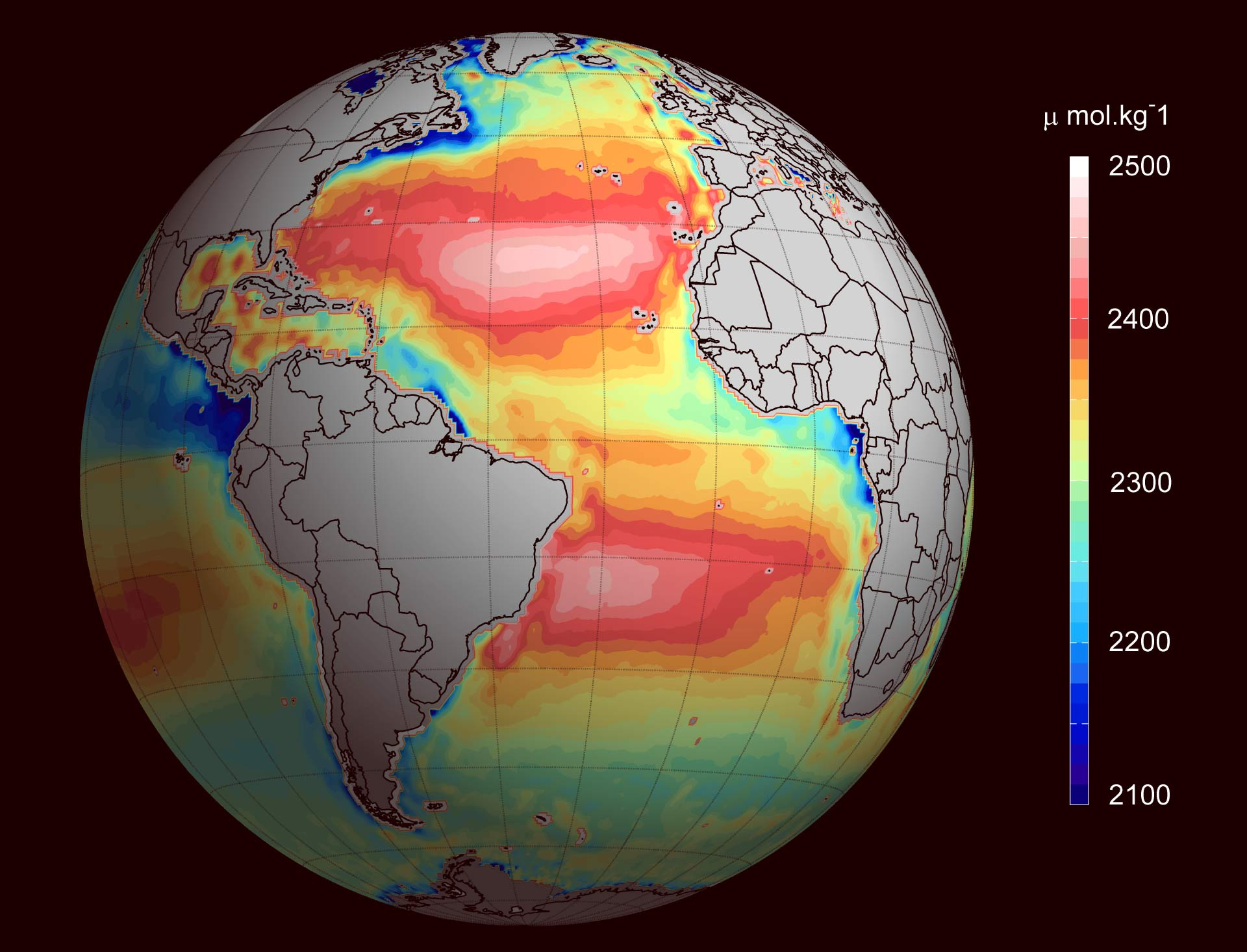 New Satellite Maps Reveal Global Ocean Alkalinity Geography - World satellite map 2014