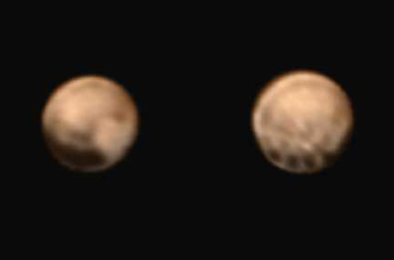 New images show two very different faces of pluto one with a series