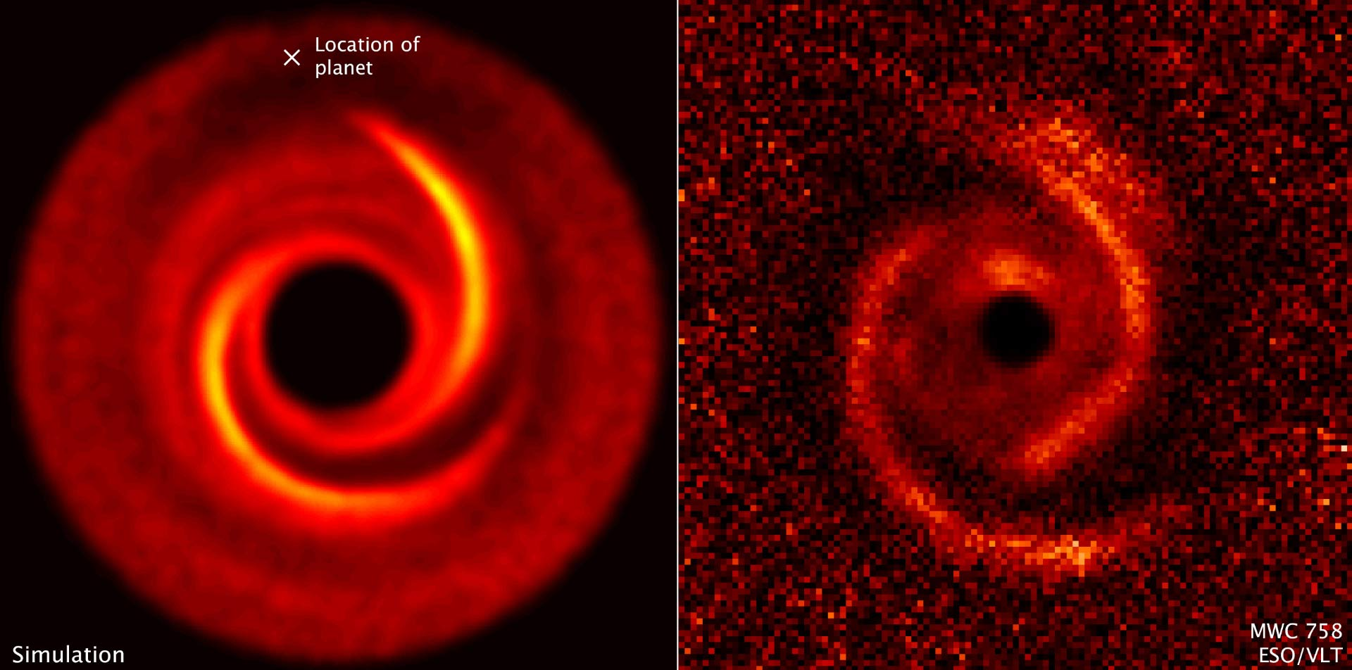 Right: observations taken by the ESO's Very Large Telescope show a  protoplanetary disk around the