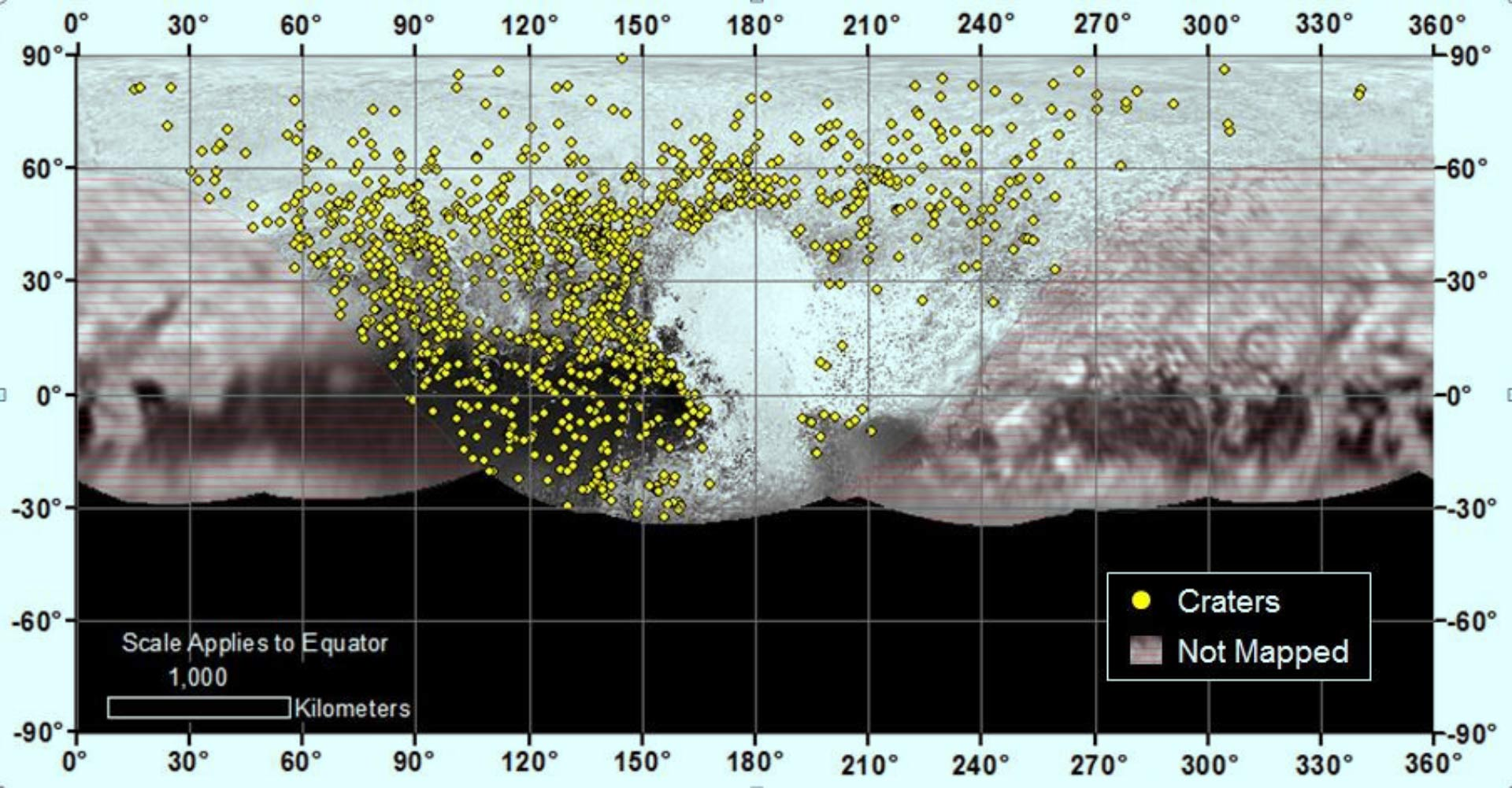 Map of Pluto's Craters Reveals Dwarf Planet's Turbulent Past ... Map Of Terraformed Pluto on atmosphere on pluto, illustrations of pluto, journey to pluto, voyager pluto, mission to pluto, who discovered pluto, color of pluto, viva la pluto, god of pluto, google pluto, sun pluto, dwarf planet poor pluto, size of pluto, hydra moon of pluto, temperature on pluto, space pluto, symbol of pluto, everything about pluto, information about pluto, the word pluto,