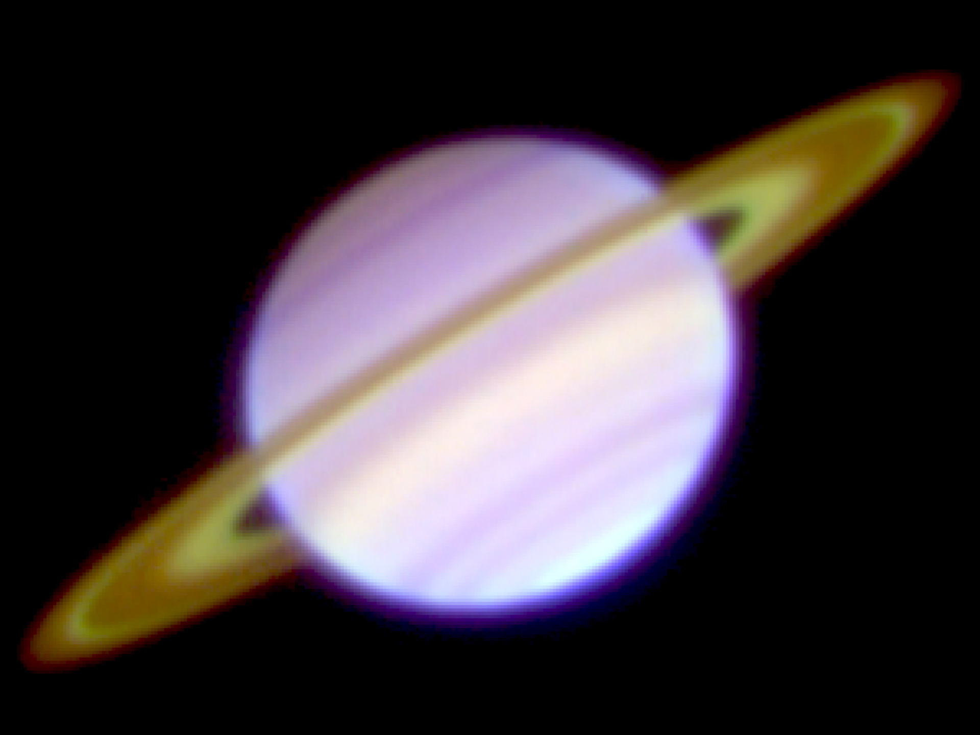 Researchers measure brightness temperatures of saturns main this is a three color composite image of saturn and its rings taken january 23 thecheapjerseys Choice Image