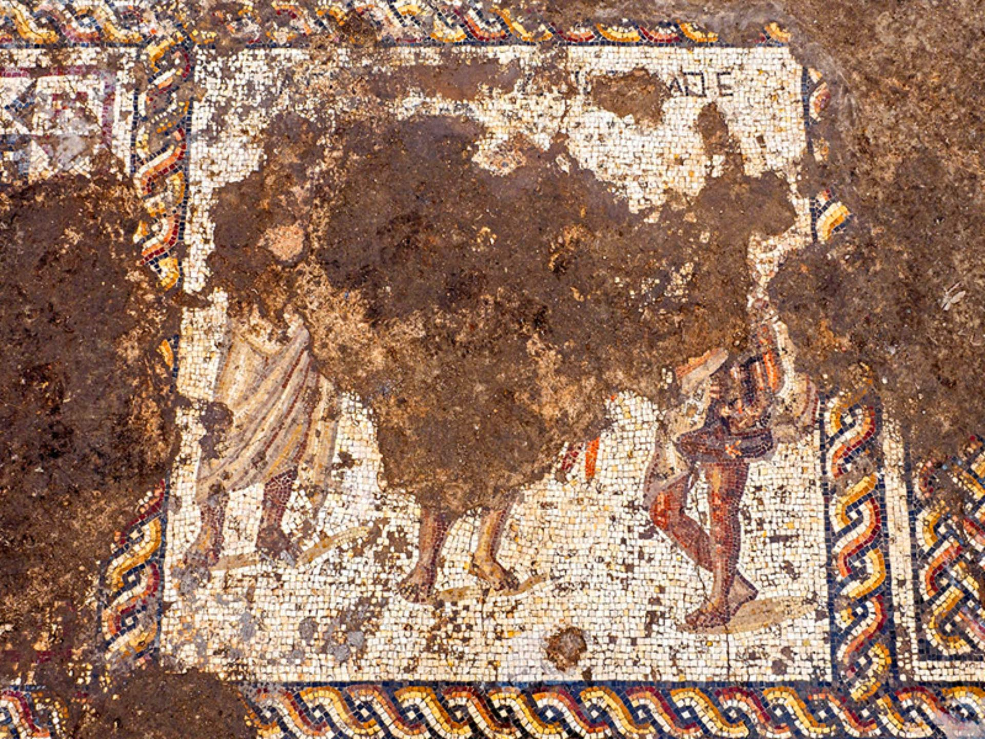 The 1,800-year-old Roman mosaic uncovered in Caesarea, Israel. Image credit