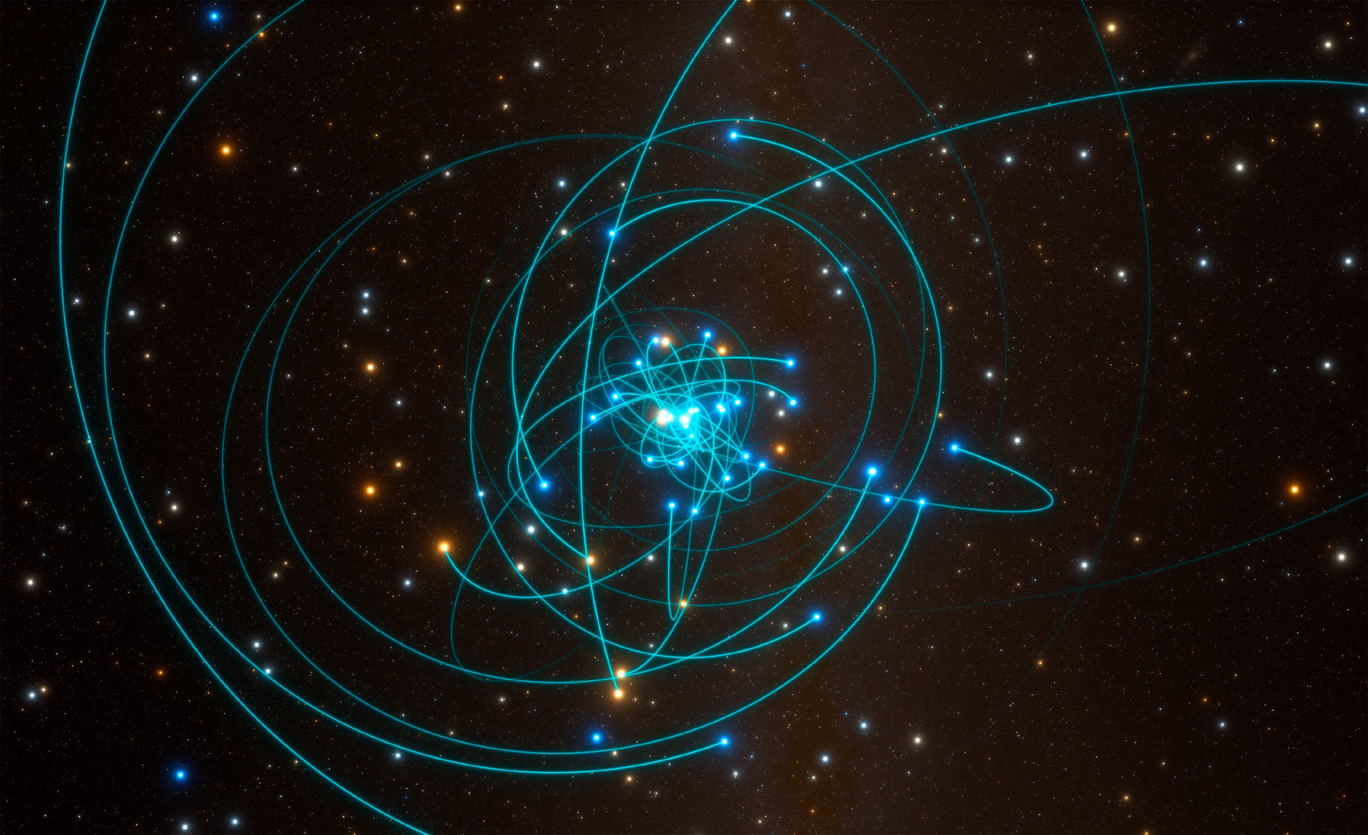 This simulation shows the orbits of stars very close to Sagittarius A* a supermassive black hole at the heart of the Milky Way. One of these stars S2 orbits every 16 years and is passing very close to the black hole in May 2018. Image credit ESO  L