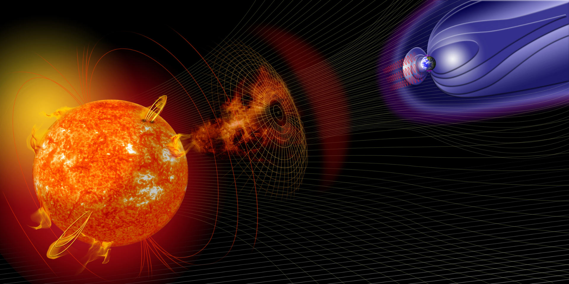 An artist's illustration of events on the Sun changing the conditions in near Earth space. Image credit NASA