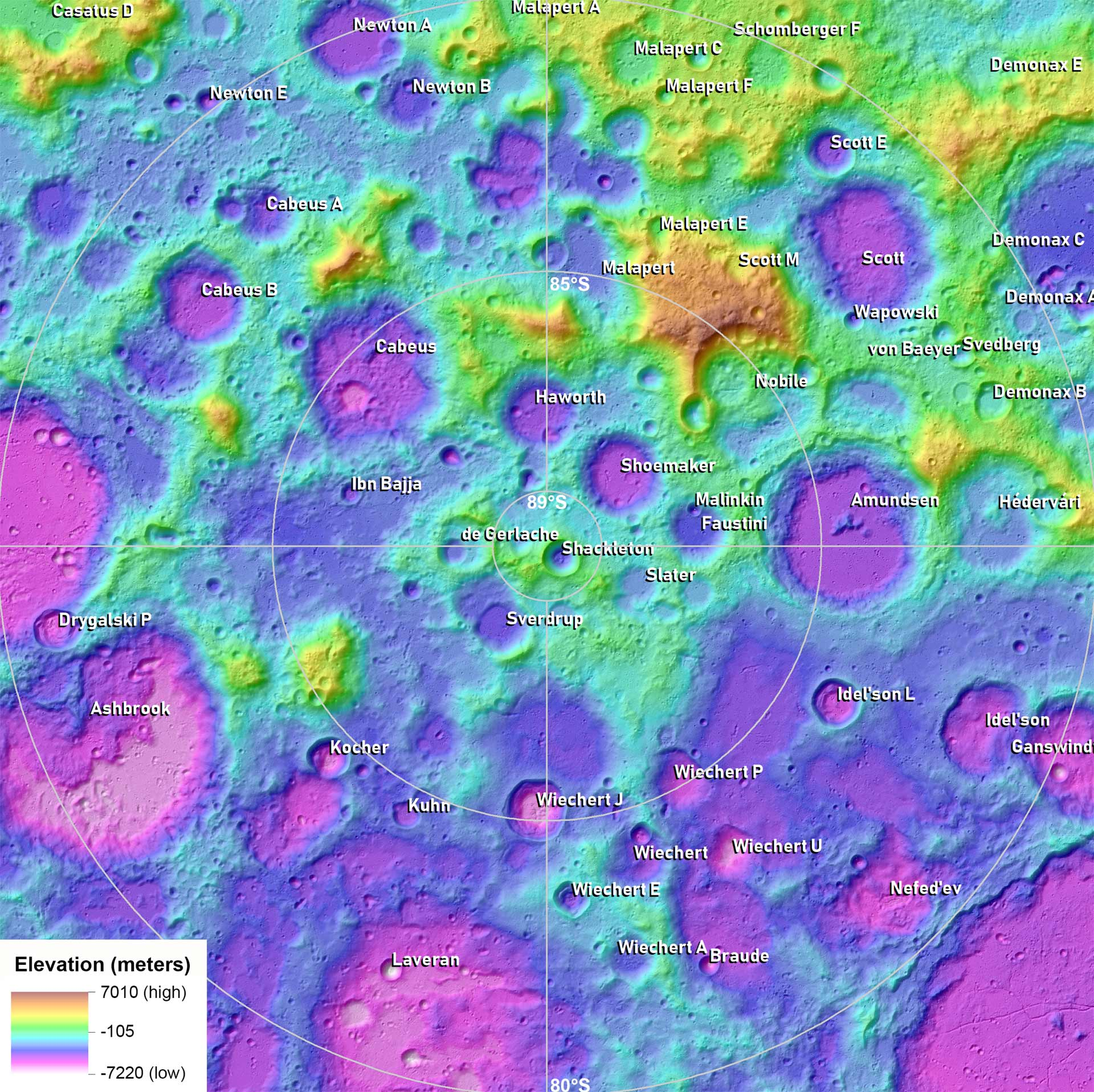 Planetary Researchers Create Atlas of Moon's South Pole ... on nasa moon map, europa moon map, titan moon map, venus map, mars with oceans map, triton moon map, high resolution moon map, topographic moon map, colonized moon map, moon texture map, national geographic moon map,